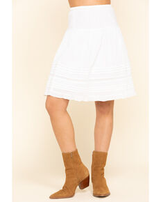 Bila Women's White Tiered Mini Skirt , White, hi-res