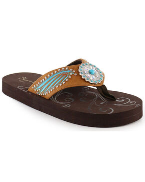 Shyanne® Women's Wing & Concho Sandals, Brown, hi-res