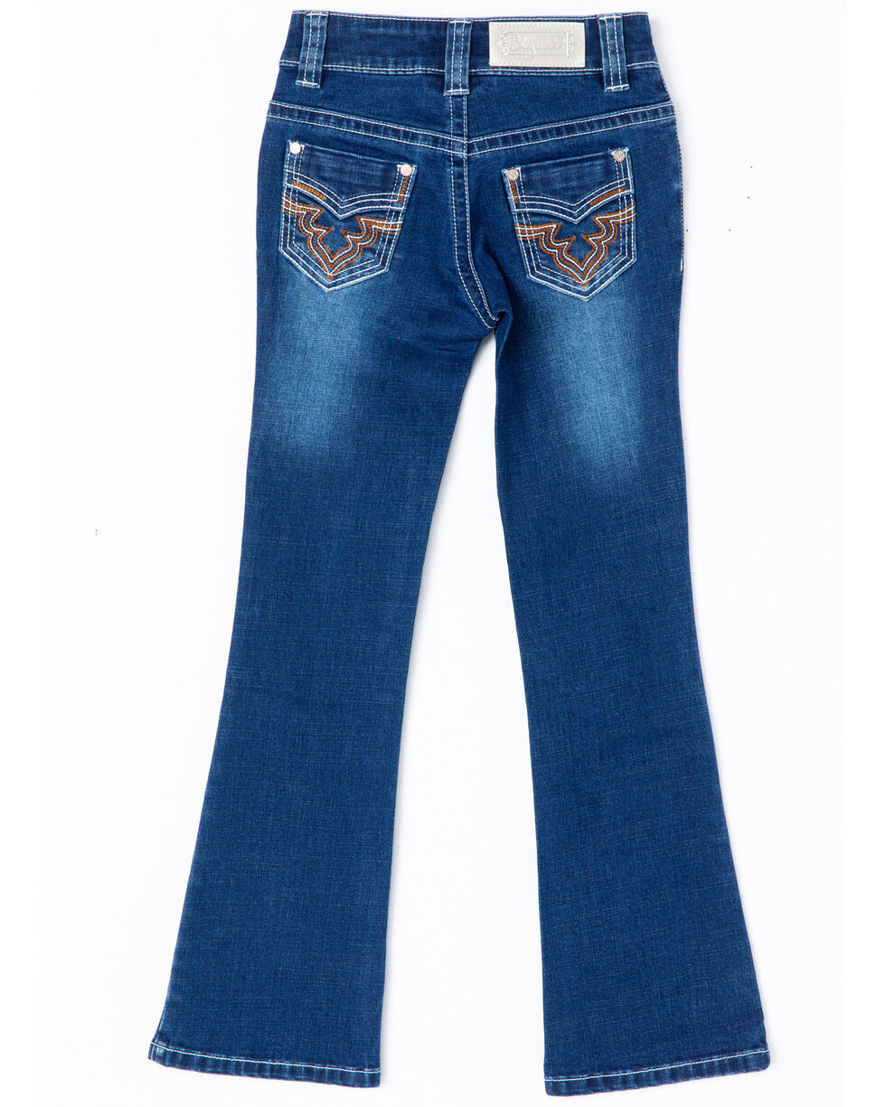 Shyanne Girls' Core Riding Stitched Embroidery Boot Jeans  , Blue, hi-res