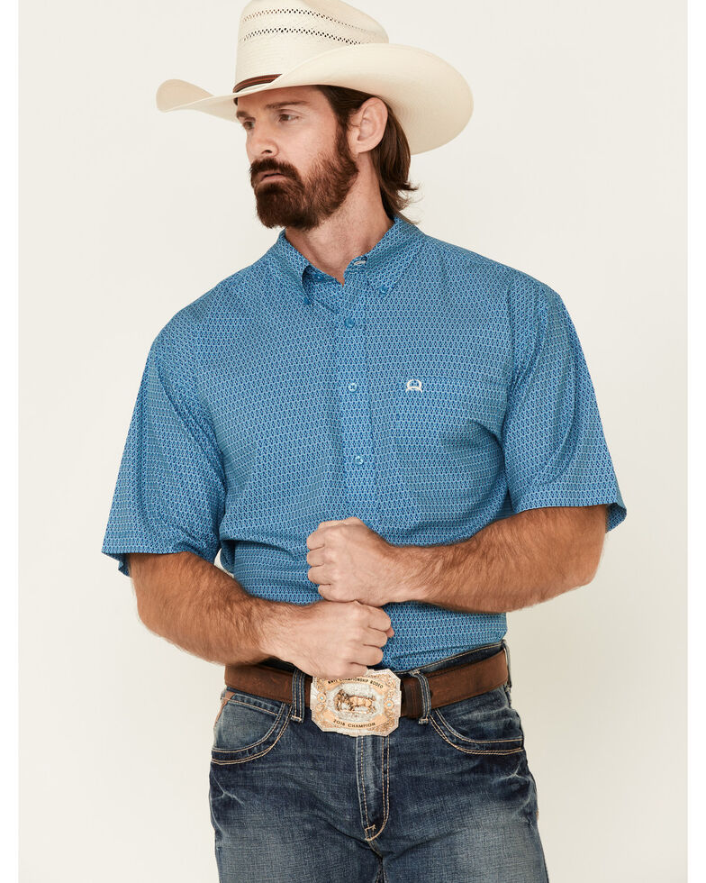 Cinch Men's Arana Flex Turquoise Geo Print Short Sleeve Button-Down Western Shirt, Turquoise, hi-res