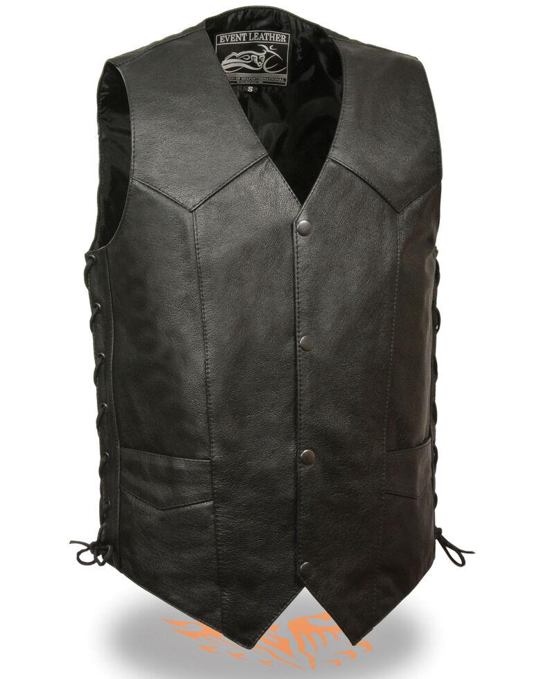 Milwaukee Leather 4X Men's Side Lace Biker Vest - Tall , Black, hi-res