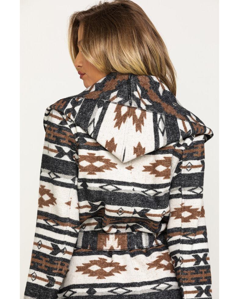 Cripple Creek Women's Navajo Tie Front Blanket Wrap Hoodie Jacket , Beige/khaki, hi-res