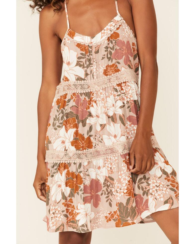 Shyanne Women's Floral Racer Sun Dress, Tan, hi-res