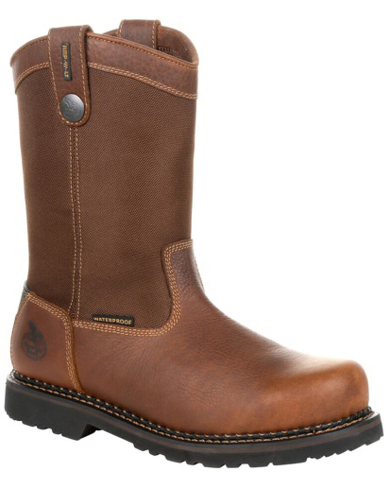 Georgia Boot Men's Revamp Waterproof Western Work Boots - Steel Toe, Brown, hi-res