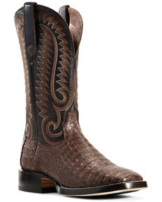 Ariat Men's Chocolate Caiman Belly Western Boots - Wide Square Toe, Chocolate, hi-res