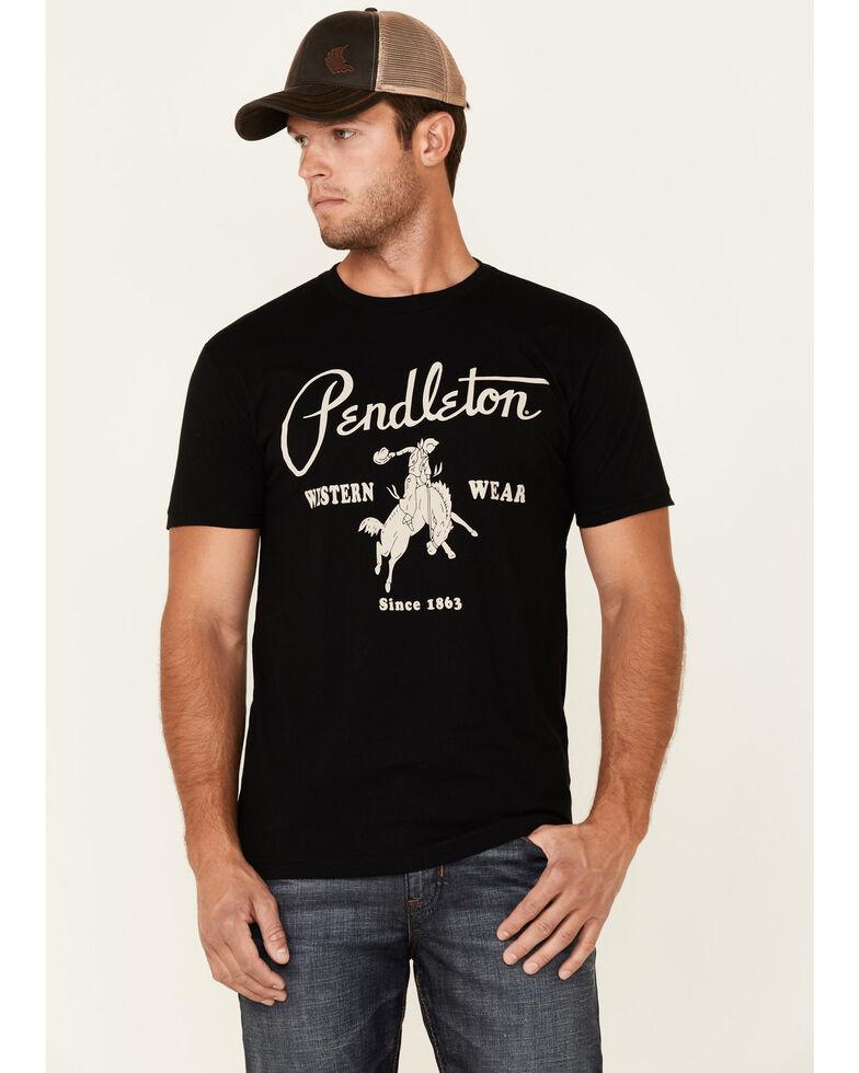 Pendleton Men's Vintage Solid Black Logo Short Sleeve T-Shirt , Black, hi-res