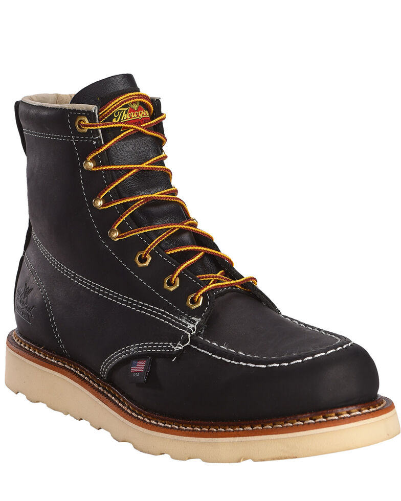 "Thorogood Men's 6"" American Heritage MAXwear Wedge Sole Work Boots - Soft Toe, Black, hi-res"