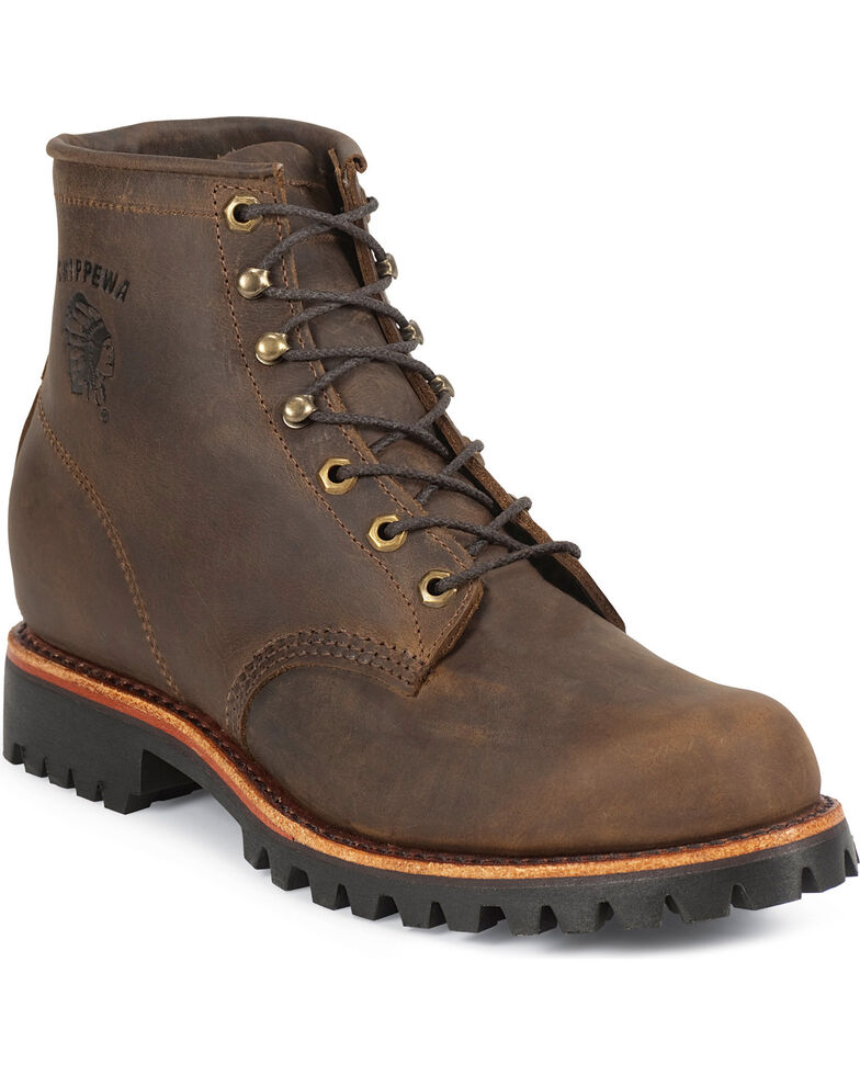 "Chippewa Classic 6"" Lace-Up Work Boots - Round Toe, Chocolate, hi-res"