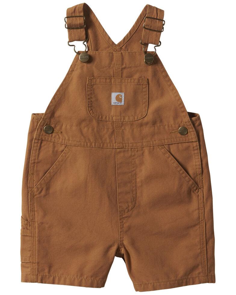 Carhartt Infant Boys' Brown Canvas Bib Shortalls , Brown, hi-res