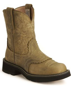 "Ariat Women's Fatbaby Scalloped 8"" Western Boots, Brown, hi-res"