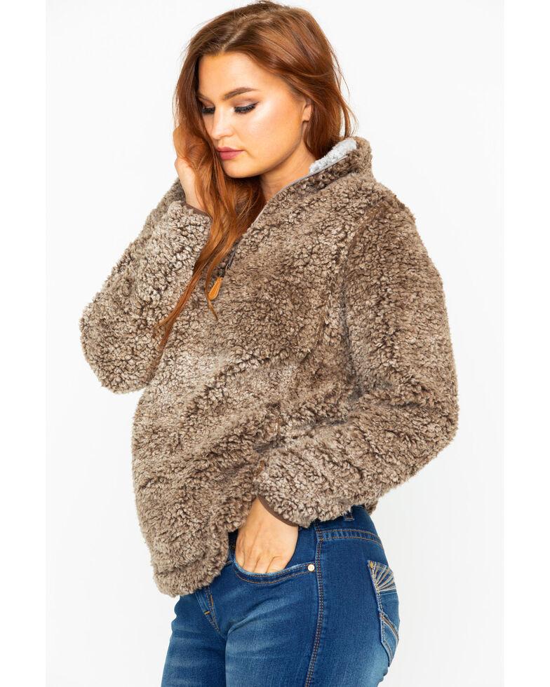 Katydid Women's Sherpa Zip Up Pullover, Brown, hi-res