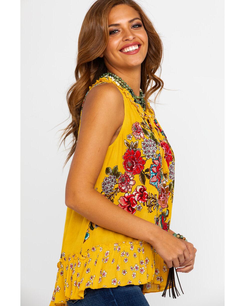 Bila Women's Floral Boho Ruffle Sleeveless Top , Dark Yellow, hi-res