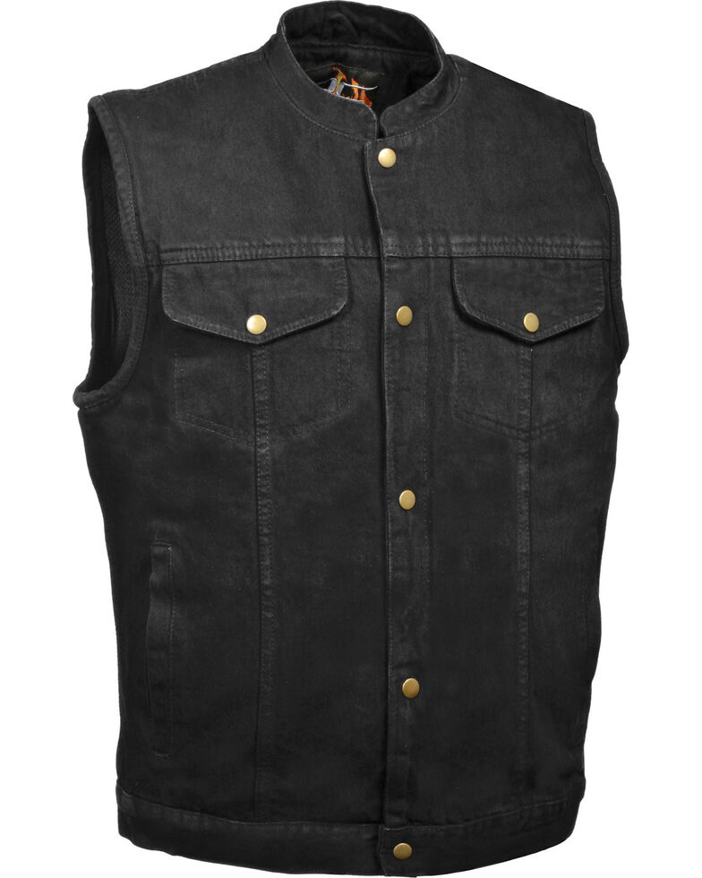 Milwaukee Leather Men's Snap Front Denim Club Style Vest w/ Gun Pocket - Big - 3X, Black, hi-res
