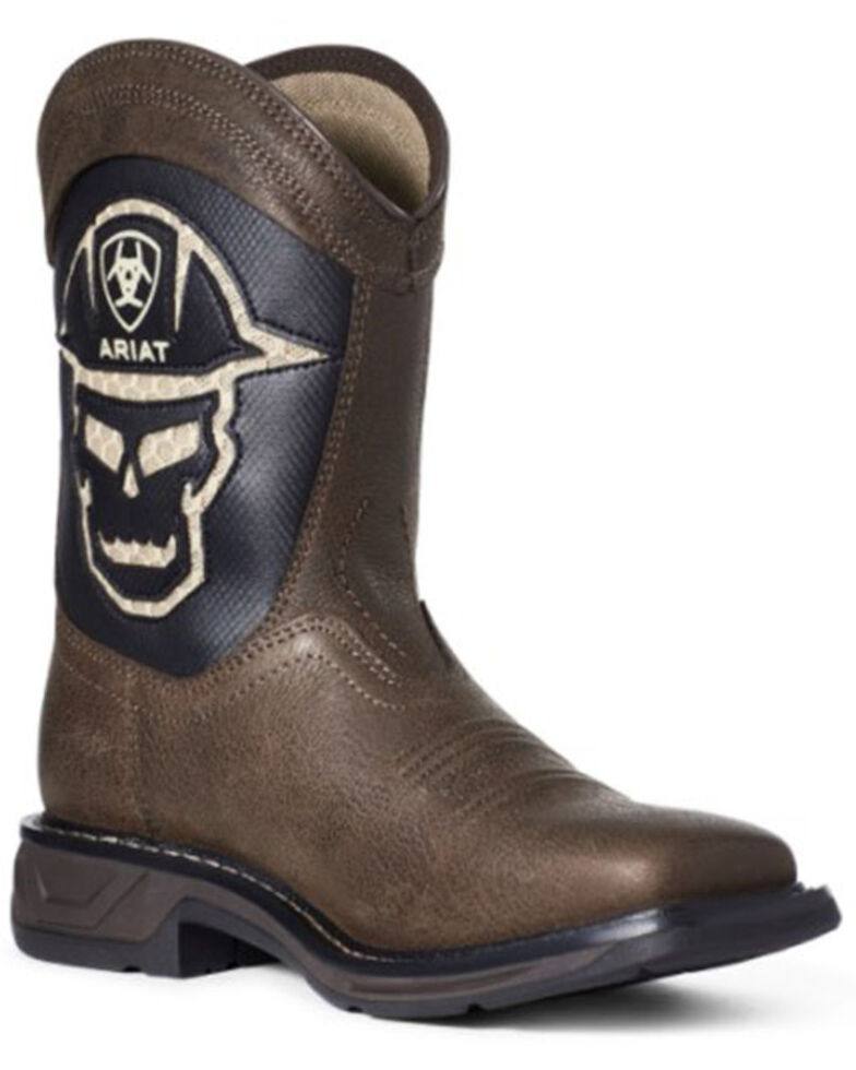 Ariat Youth Boys' Workhog Skull Western Boots - Square Toe, Brown, hi-res