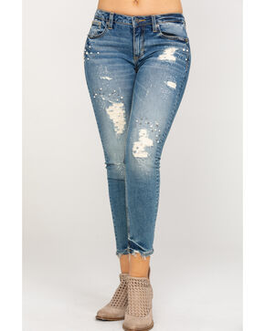 Miss Me Women's Distressed and Pearl Studded Ankle Skinny Jeans , Medium Blue, hi-res