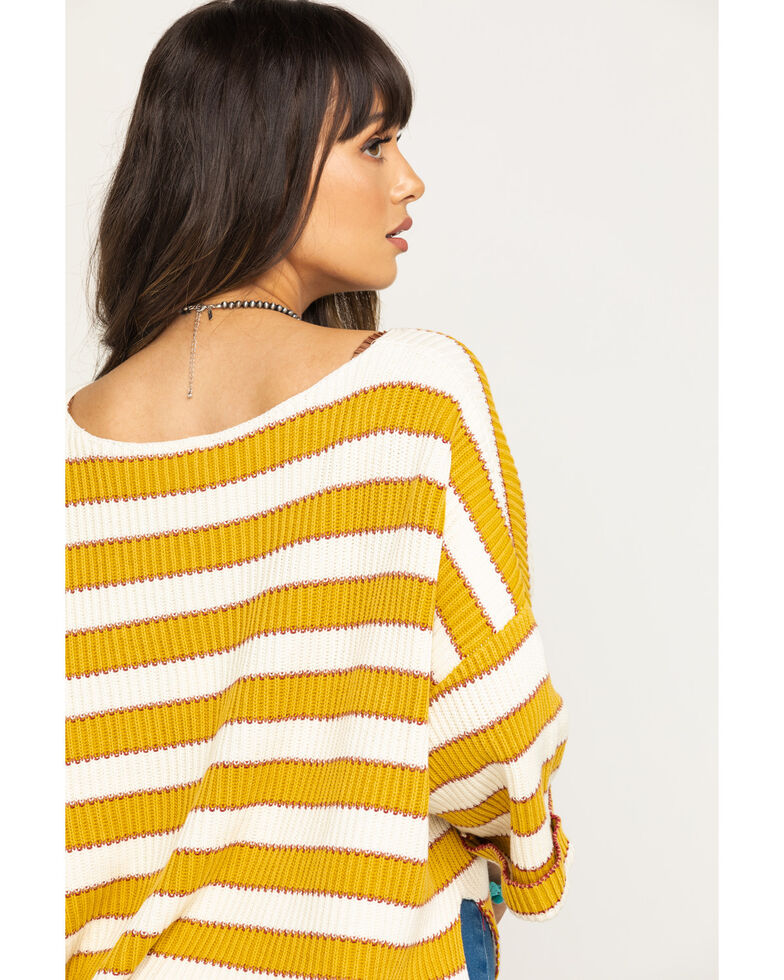 By Together Women's Striped Sweater , Gold, hi-res