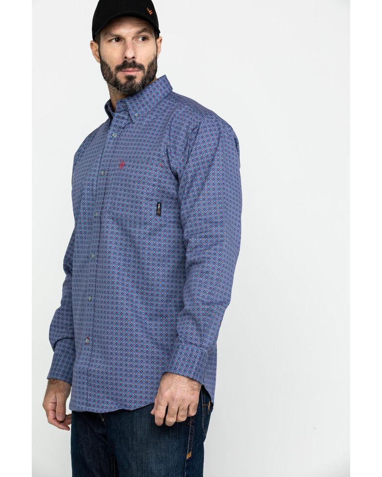 Ariat Men's Maverick FR Geo Print Long Sleeve Work Shirt - Big , Green, hi-res