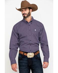 Cinch Men's Purple Diamond Geo Print Plain Weave Long Sleeve Western Shirt , Purple, hi-res