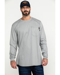 Hawx Men's Grey FR Pocket Long Sleeve Work T-Shirt - Tall , Silver, hi-res