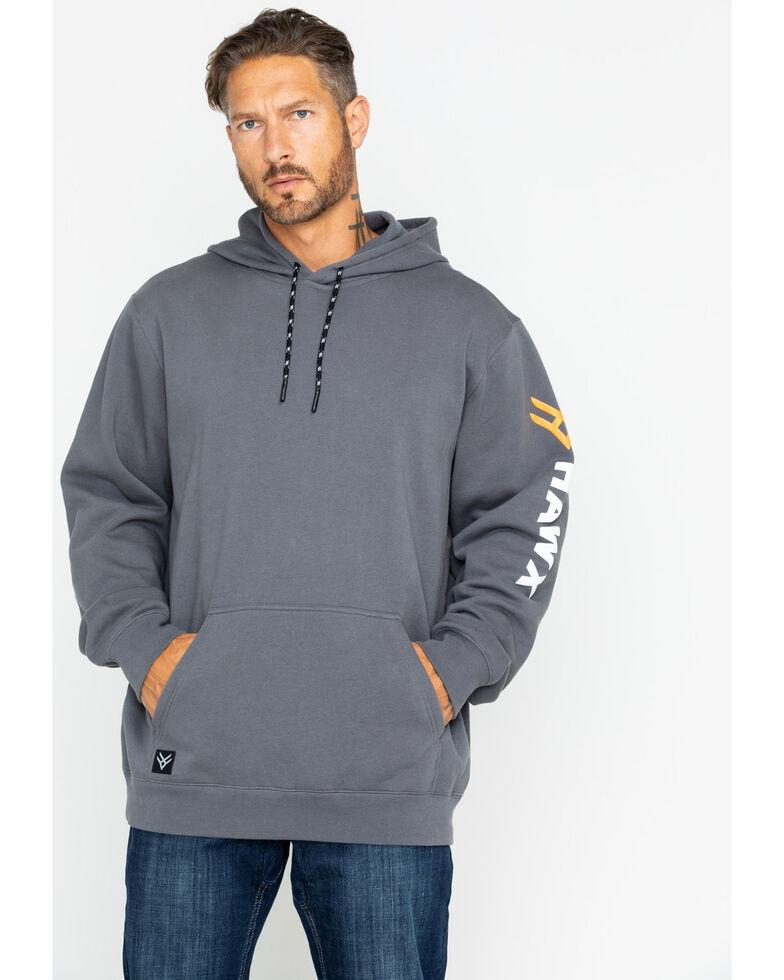 Hawx® Men's Logo Sleeve Hooded Work Sweatshirt , Charcoal, hi-res