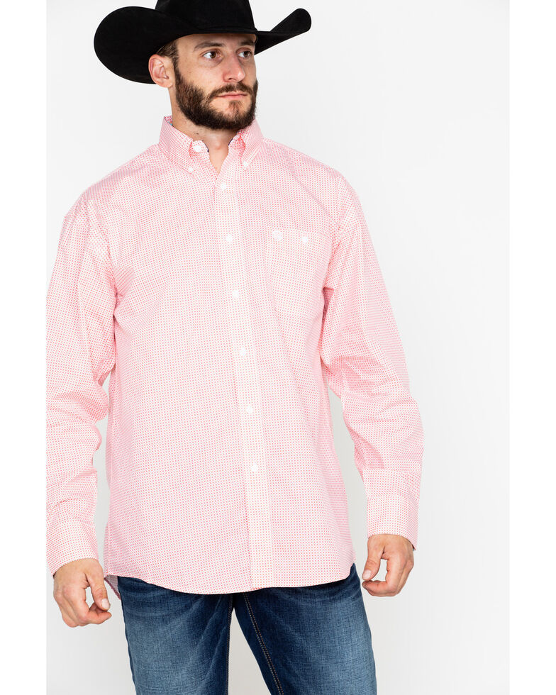 fe967a41 Zoomed Image George Strait by Wrangler Men's Coral Long Sleeve Western Shirt,  Coral, hi-res