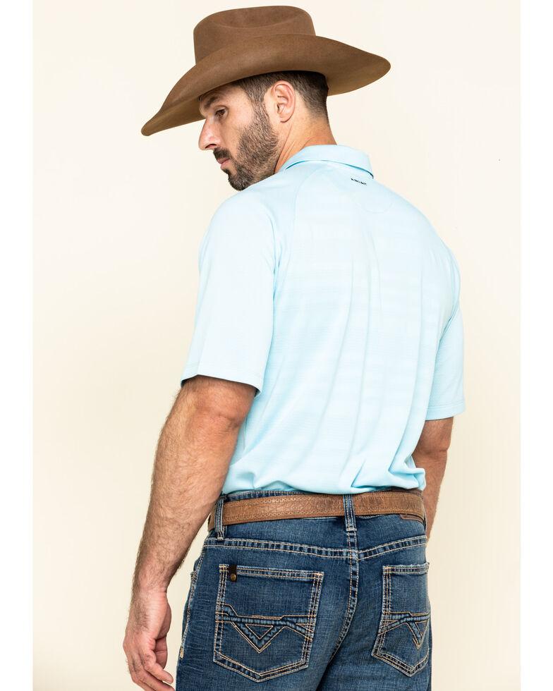 Ariat Men's Crystal Blue Edge TEK Short Sleeve Polo Shirt , Blue, hi-res