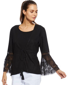 Angel Premium Women's Black Davis Cardigan, Black, hi-res