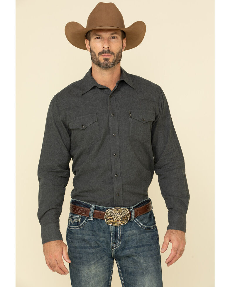 Cinch Men's Heather Grey Herringbone Solid Long Sleeve Western Shirt , Heather Grey, hi-res