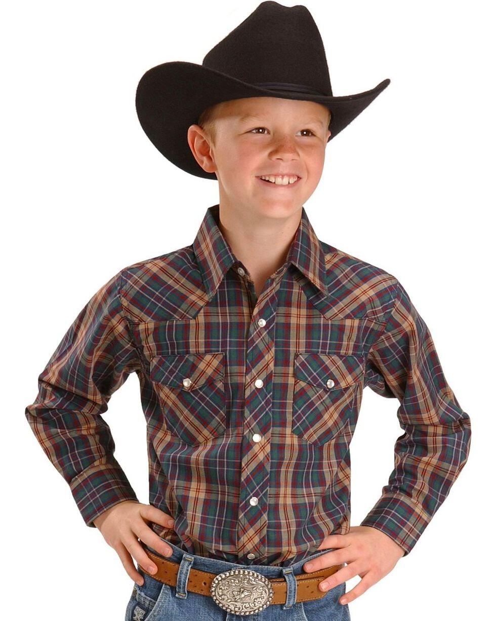 Wrangler Boy's Assorted Western Plaid Shirt, Plaid, hi-res