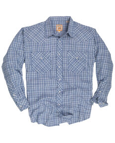 Resistol Men's Blue Garner Small Plaid Long Sleeve Western Shirt , Blue, hi-res