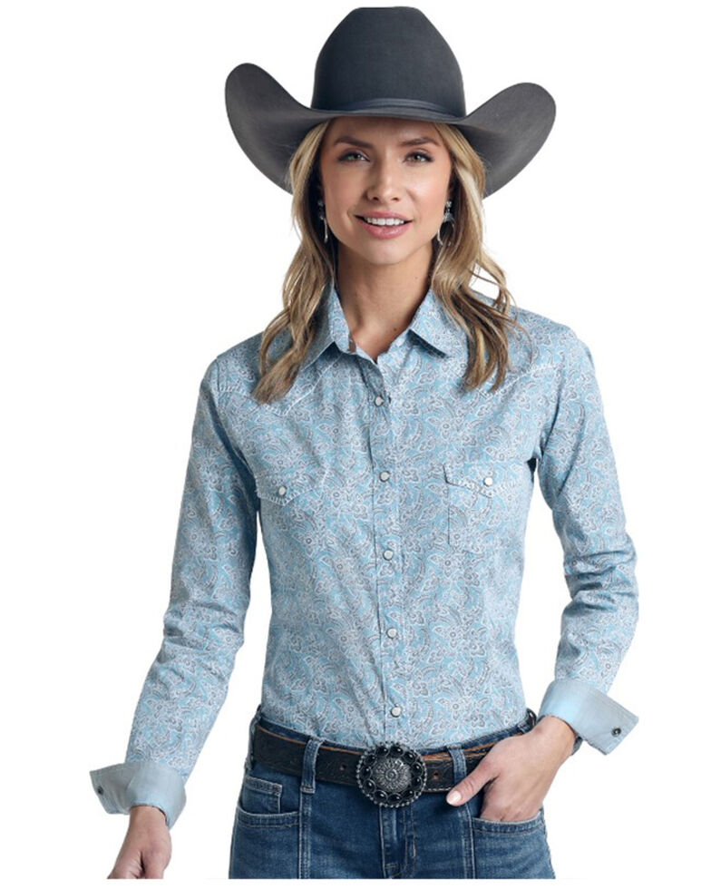 Rough Stock by Panhandle Women's Blue Vintage Print Snap Long Sleeve Western Shirt - Plus, Blue, hi-res