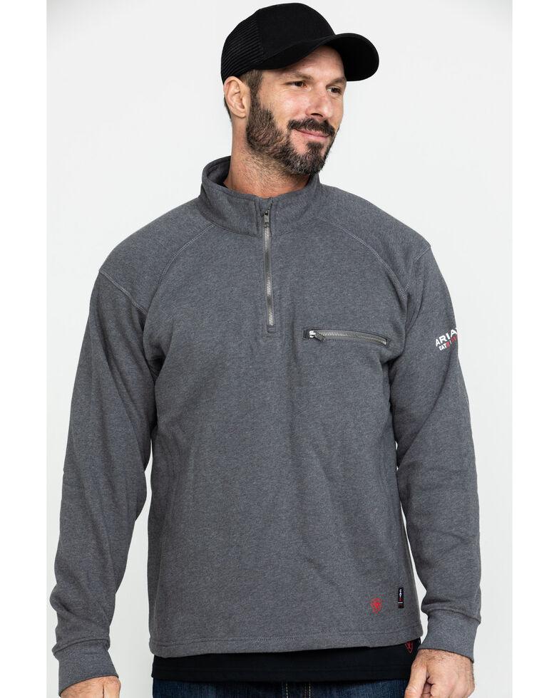Ariat Men's FR Rev 1/4 Zip Work Shirt - Big , Charcoal, hi-res