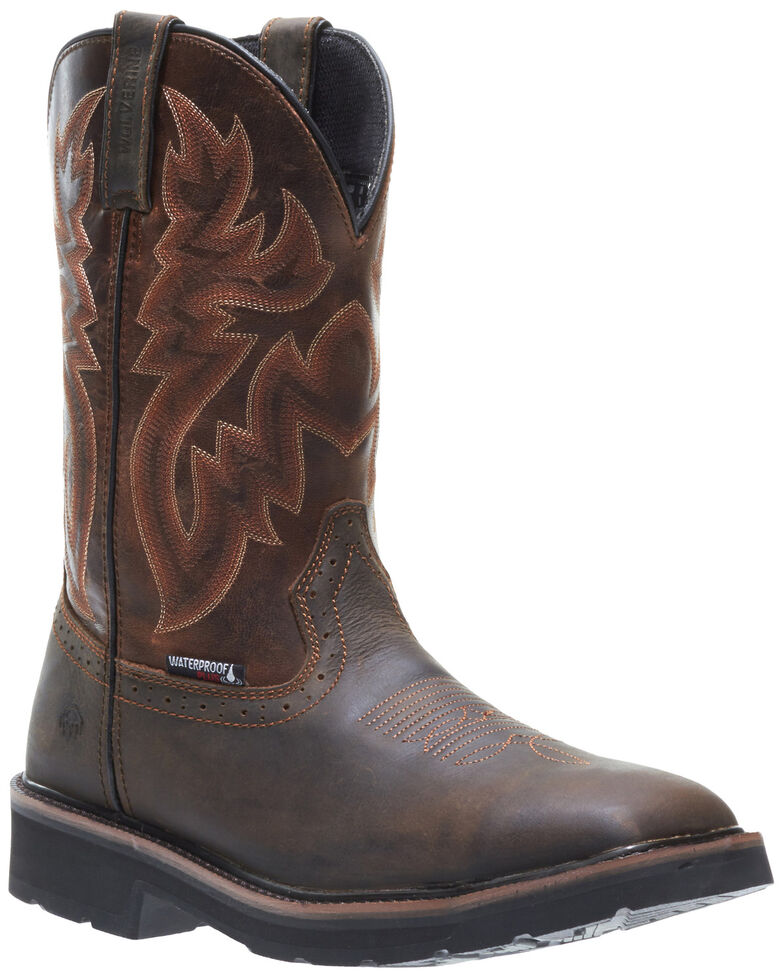 Wolverine Men's Rancher Waterproof Western Boots - Soft Toe, Brown, hi-res