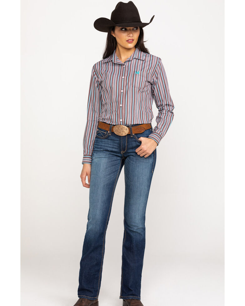 Rough Stock by Panhandle Women's Hanover Classic Stripe Long Sleeve Western Shirt, , hi-res