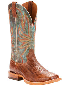 Ariat Men's Range Boss Diamondback Tan Cowboy Boots - Square Toe, Blue, hi-res