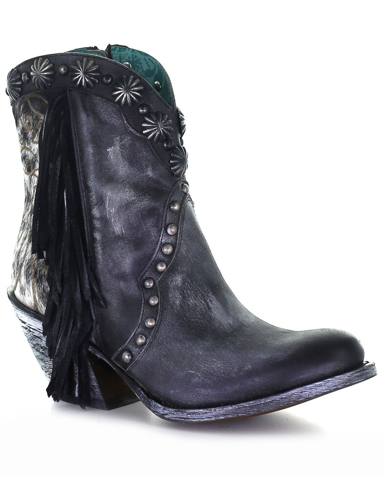Corral Women's Fringe & Studs Fashion Booties - Round Toe, Black, hi-res