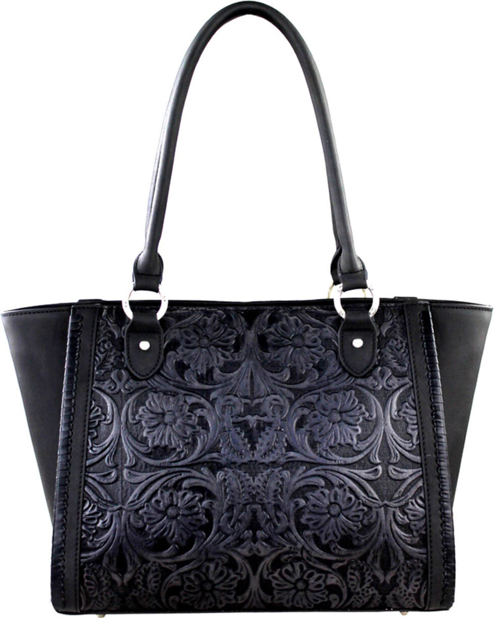 Montana West Delila Black Tooled Leather Satchel, Black, hi-res