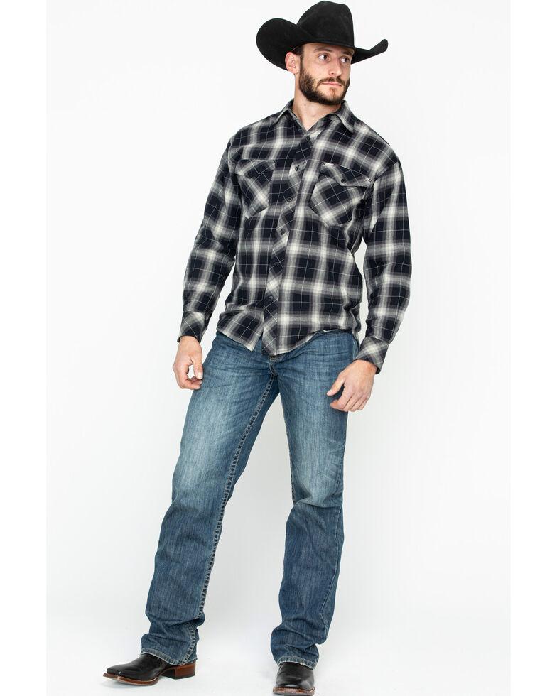 Resistol Men's Knight Plaid Long Sleeve Western Shirt , Black, hi-res