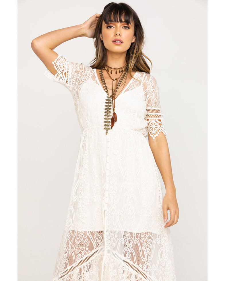 Shyanne Women's Ivory Lace Button Down Hi-Lo Maxi Dress, Ivory, hi-res
