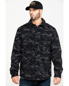 Hawx Men's Grey Camo Printed Reflective Soft Shell Work Shirt Jacket , Black, hi-res