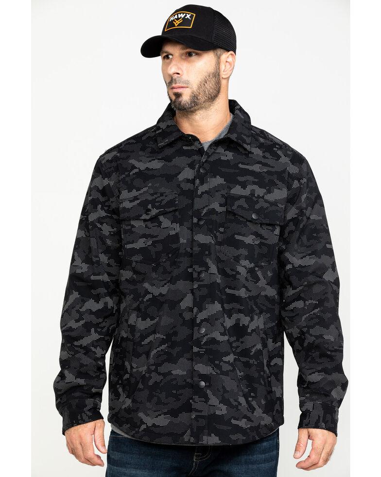 Hawx Men's Grey Camo Printed Reflective Soft Shell Work Shirt Jacket , Black, hi-res