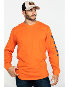 Hawx Men's Orange Logo Long Sleeve Work T-Shirt - Tall , Orange, hi-res