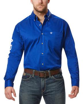 Ariat Men's Team Logo Long Sleeve Twill Shirt, Blue, hi-res
