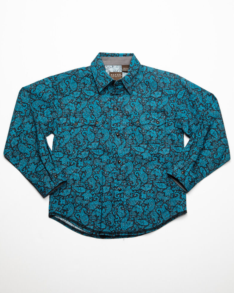 Roper Boys' Paisley Print Long Sleeve Western Shirt , Blue, hi-res