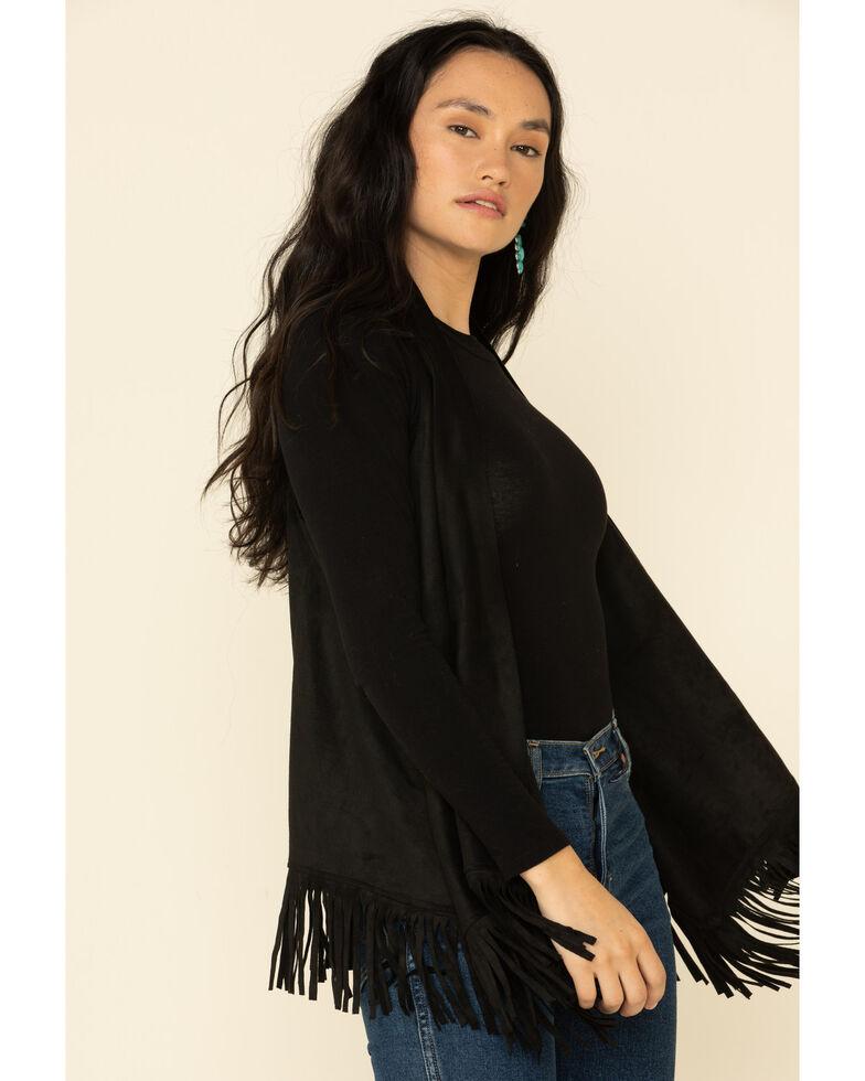 Panhandle Women's Solid Fringe Vest, Black, hi-res