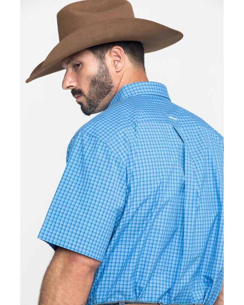 Ariat Men's Glendale Plaid Short Sleeve Western Shirt - Tall , Blue, hi-res