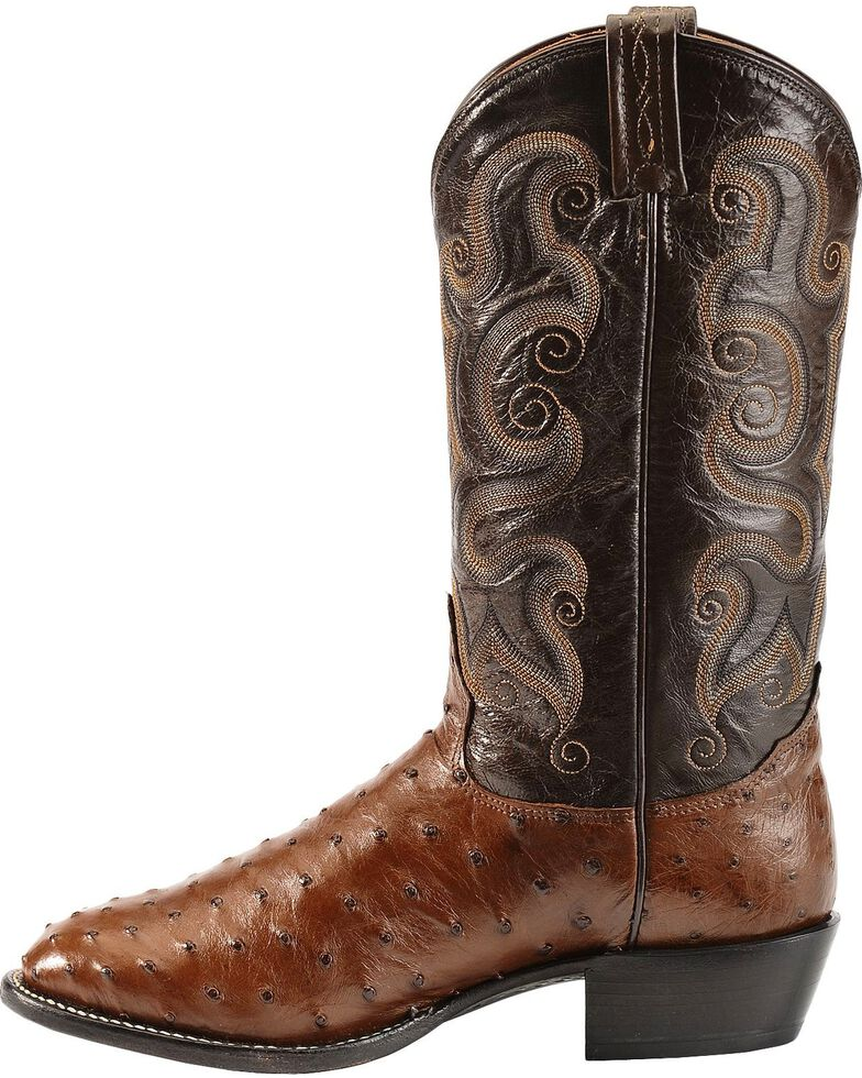 Tony Lama Men's Full Quill Ostrich Exotic Western Boots, Coffee, hi-res