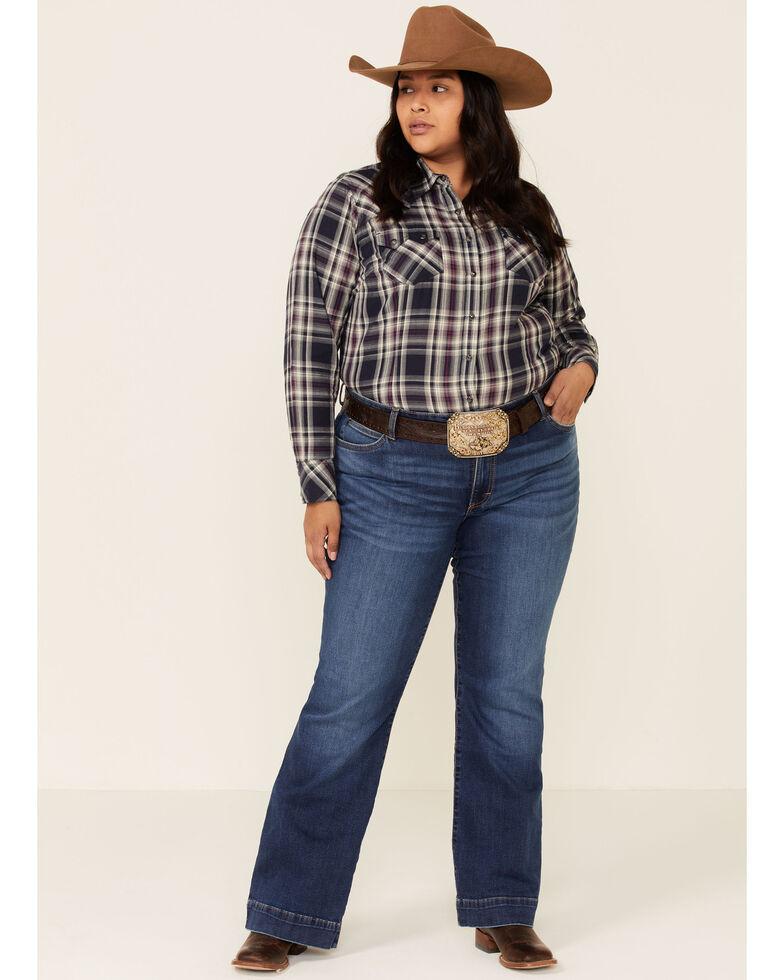 Ariat Women's Peacoat Plaid REAL Virtue Long Sleeve Western Shirt - Plus, Blue, hi-res