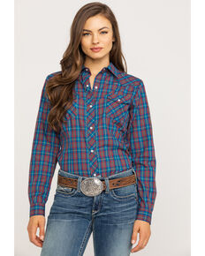 Karman Women's Plaid Long Sleeve Western Shirt, Blue, hi-res
