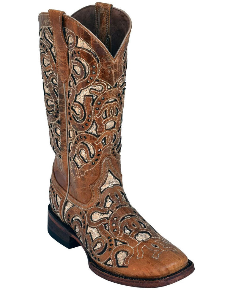 Ferrini Women's Horseshoe Antique Western Boots - Square Toe, Brown, hi-res
